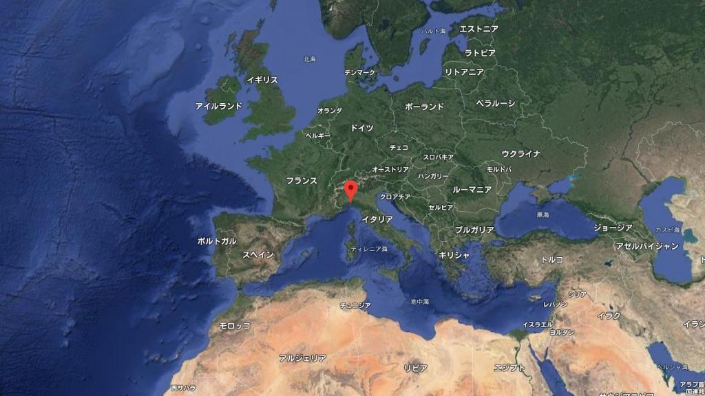 グーグルマップのスクリーンショット。ジェノバ地方を地球の上から見た図。