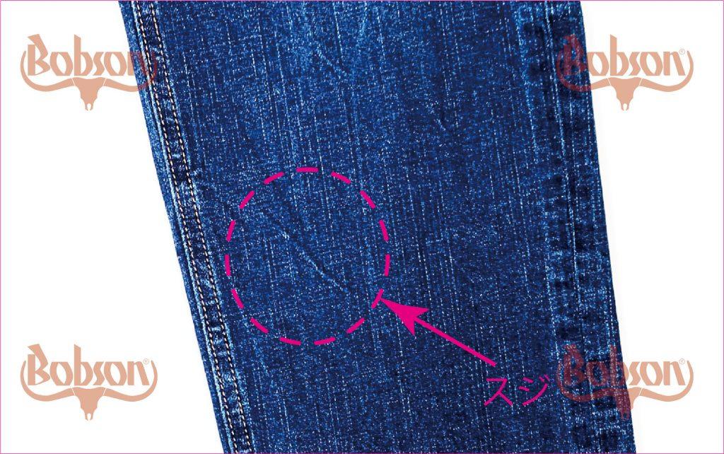 スジ張りをおこしてしまったジーンズのアップ写真。意図しないシワの白いスジができている。